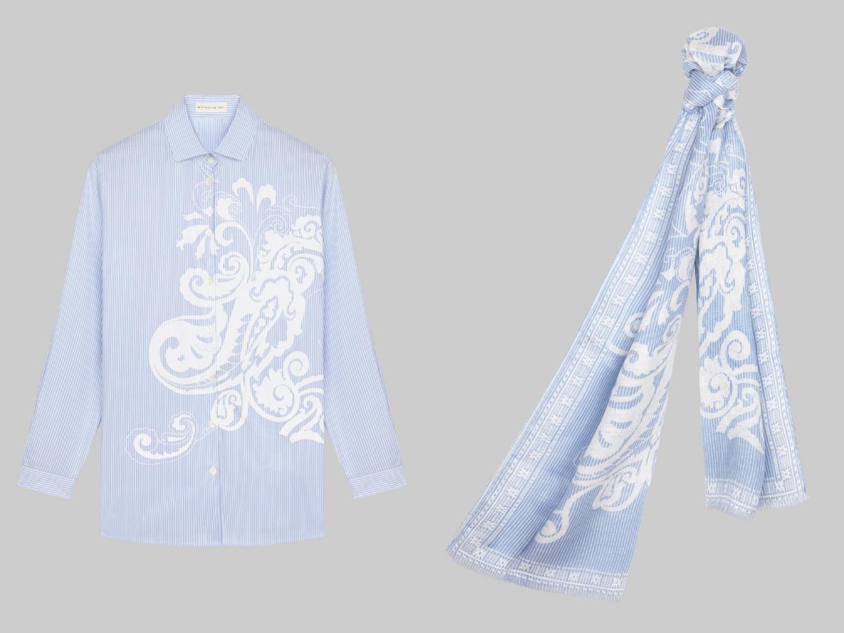 シャツ ¥68,000、ショール(W70xH170cm)¥38,000 ※日本限定/エトロ ジャパン/エトロ ジャパン