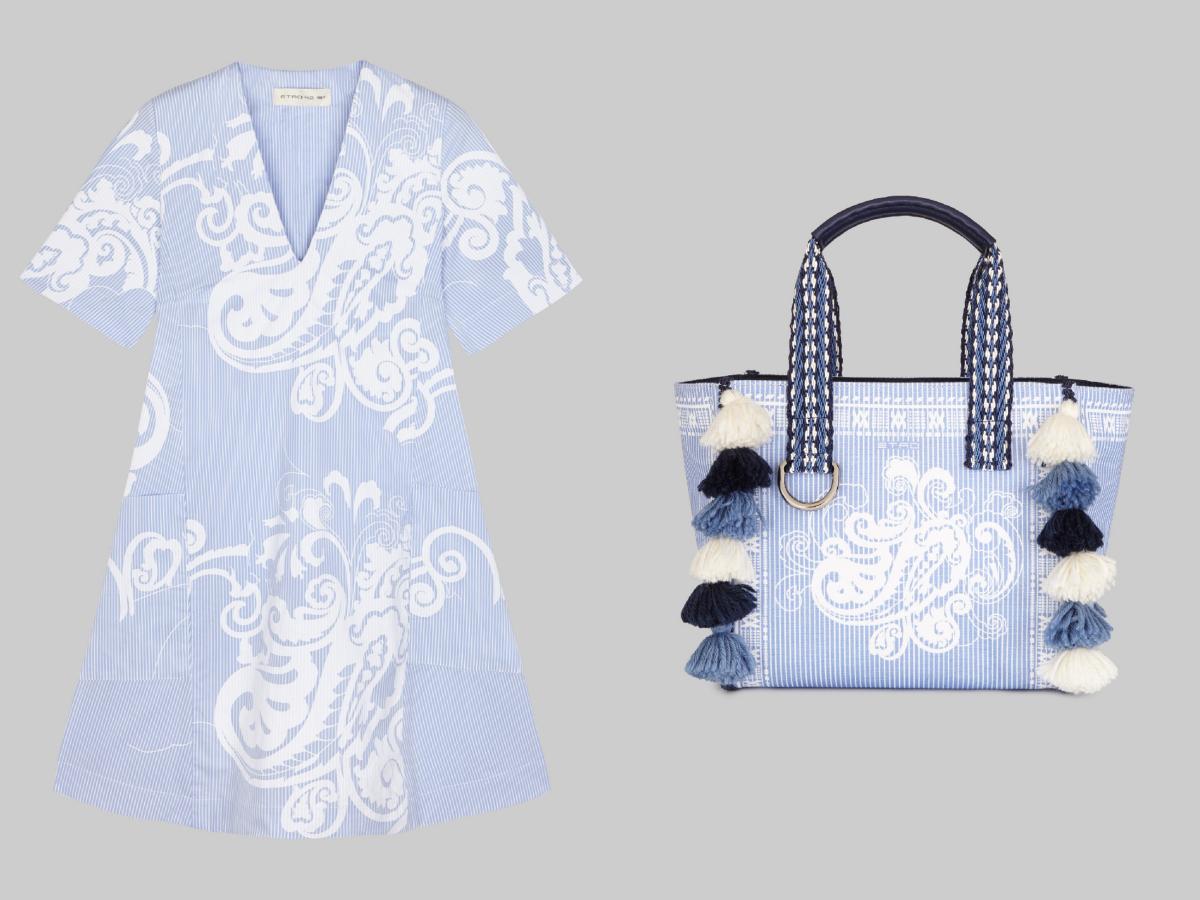 ドレス ¥168,000、バッグ(W30xH35xD15cm)¥115,000/エトロ ジャパン ※日本限定