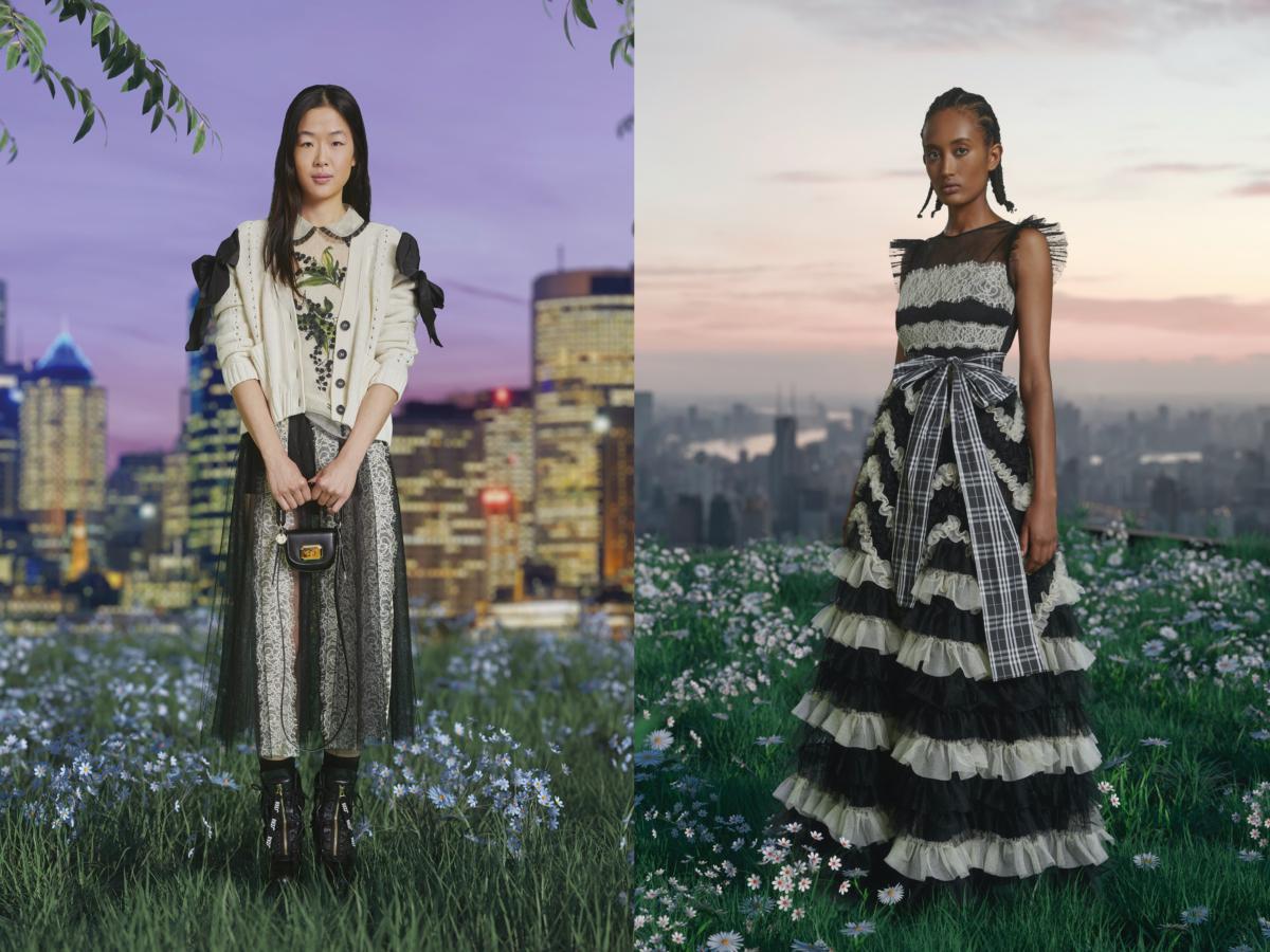(左)ニットカーディガン ¥68,000、トップ ¥88,000、スカート ¥92,000、ミニバッグ ¥61,000、シューズ ¥100,000・(右)ドレス ¥224,000/ヴァレンティノインフォメーションデスク(レッドヴァレンティノ)