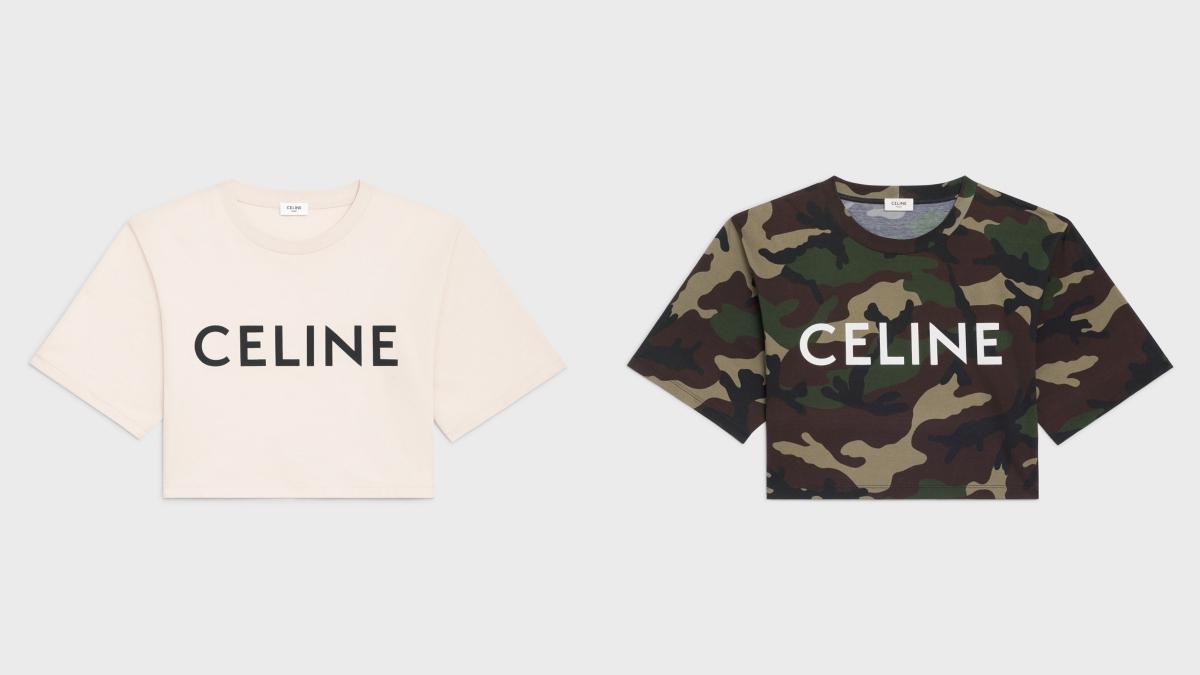 クロップドTシャツ(アイボリー)¥47,300、クロップドTシャツ(カモフラージュ)¥56,100※予定価格)/セリーヌジャパン