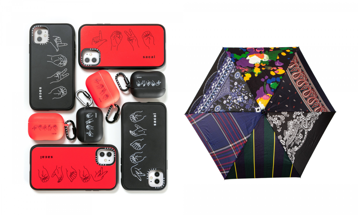 (左)sacai x CASETiFY  Price: iPhone Case 11 ¥8,000 / AirPods Pro Case ¥5,400・Zantan  Price: Babouche ¥8,000 / Bag ¥7,000 / Umbrella ¥12,000Color: MULTI *ひとつひとつ異なるファブリックを使用