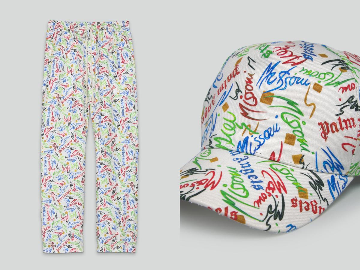 (左)スクリブル パジャマパンツ ¥107,800、スクリブル キャップ ¥34,100/三喜商事ミッソーニ部