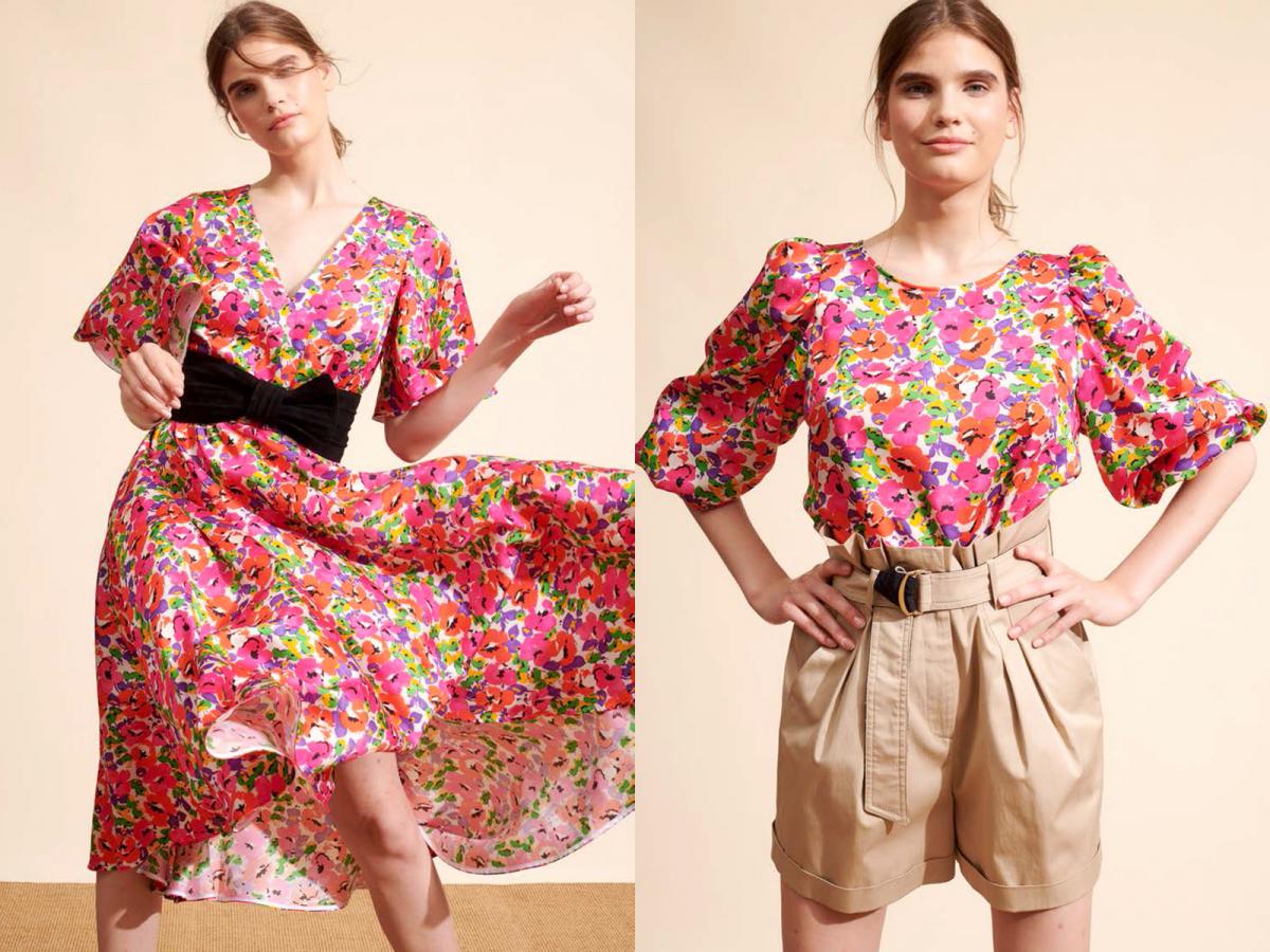 (左)V衿のドレス ¥59,000、(右)パフスリーブブラウス ¥24,000/イトキンカスタマーサービス(タラ ジャーモン)