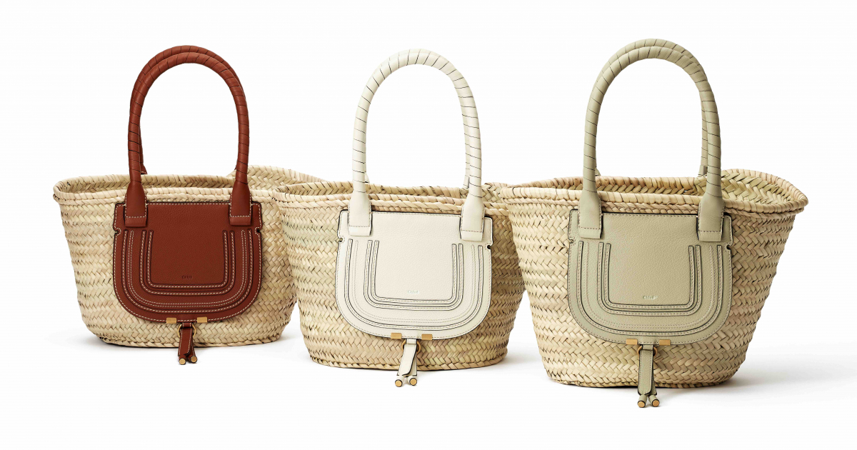"""marcie"" Medium basket bag(H43.5 ×W25.5×D25cm)各¥77,000(左より:タン、ナチュラルホワイト、ライトユーカリプタス)/クロエ カスタマーリレーションズ"