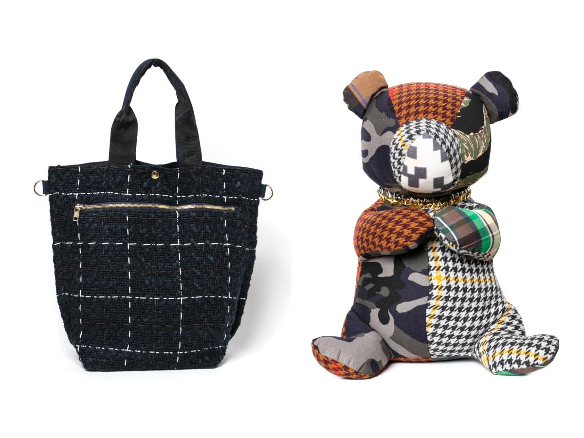 (左より)Tote Bag ¥14,000、テディベアLarge ¥45,000※ひとつひとつ異なるファブリックを使用/サカイ