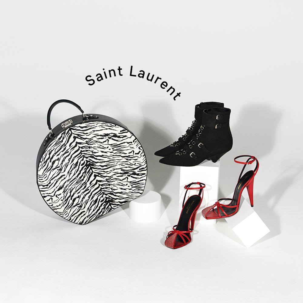 (右上から時計回りに)ブーツ(ヒール4.5㎝)¥250,000、パンプス(ヒール11㎝)¥130,000、バッグ(H36.5×W40×D12cm)¥425,000