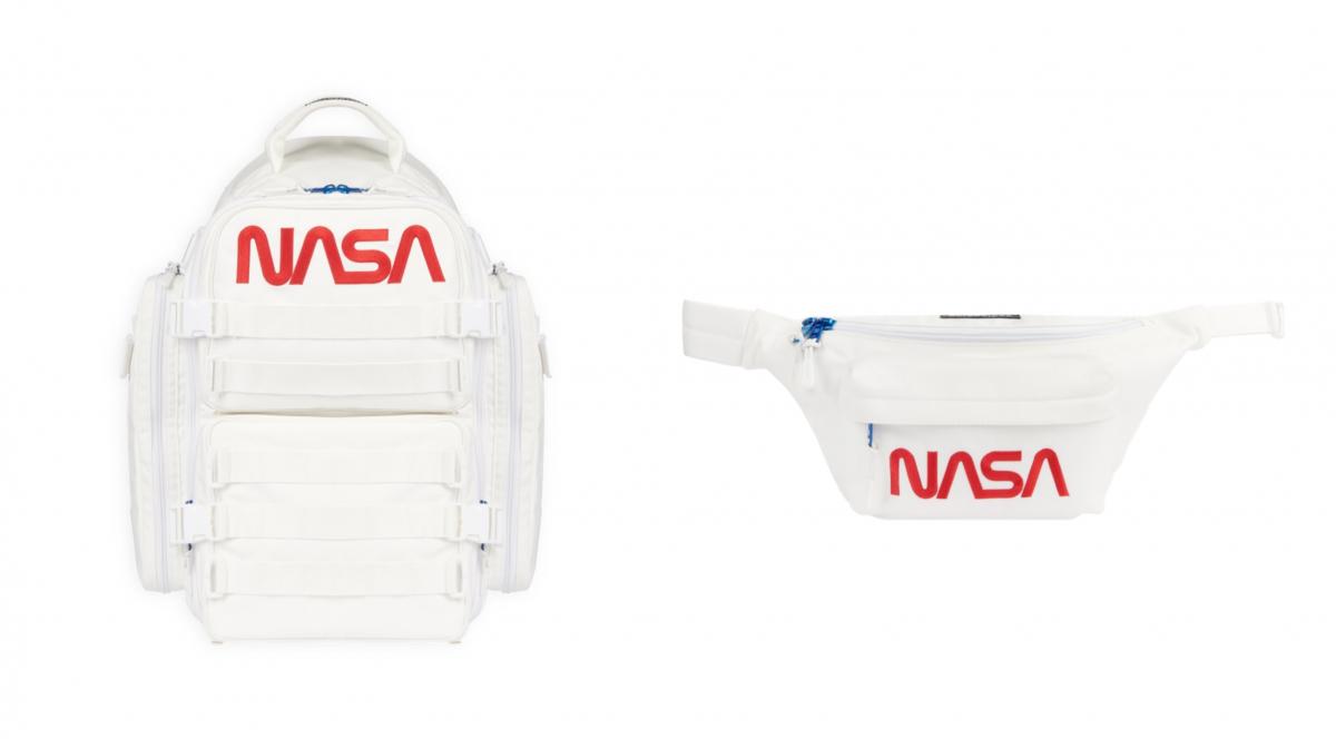 (左より)SPACE BACKPACK WHITE(W37×H52×D28cm)¥196,900、SPACE BELTPACK WHITE(W39×H19×D13cm)¥101,200/バレンシアガクライアントサービス