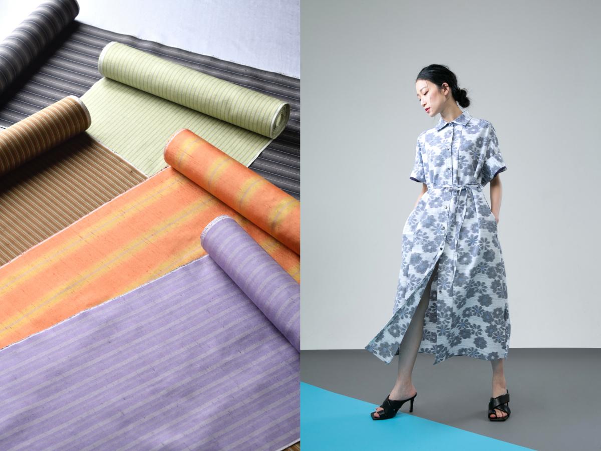 (左)「牛首紬」の反物・(右)ワンピースコート型見本/アルルナータ