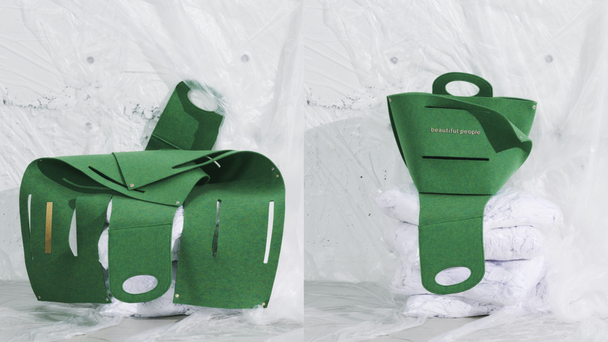 recycled felt constructive bag S  ¥30,000 recycled felt constructive bag L  ¥40,000 recycled felt constructive shoulder bag ¥36,000
