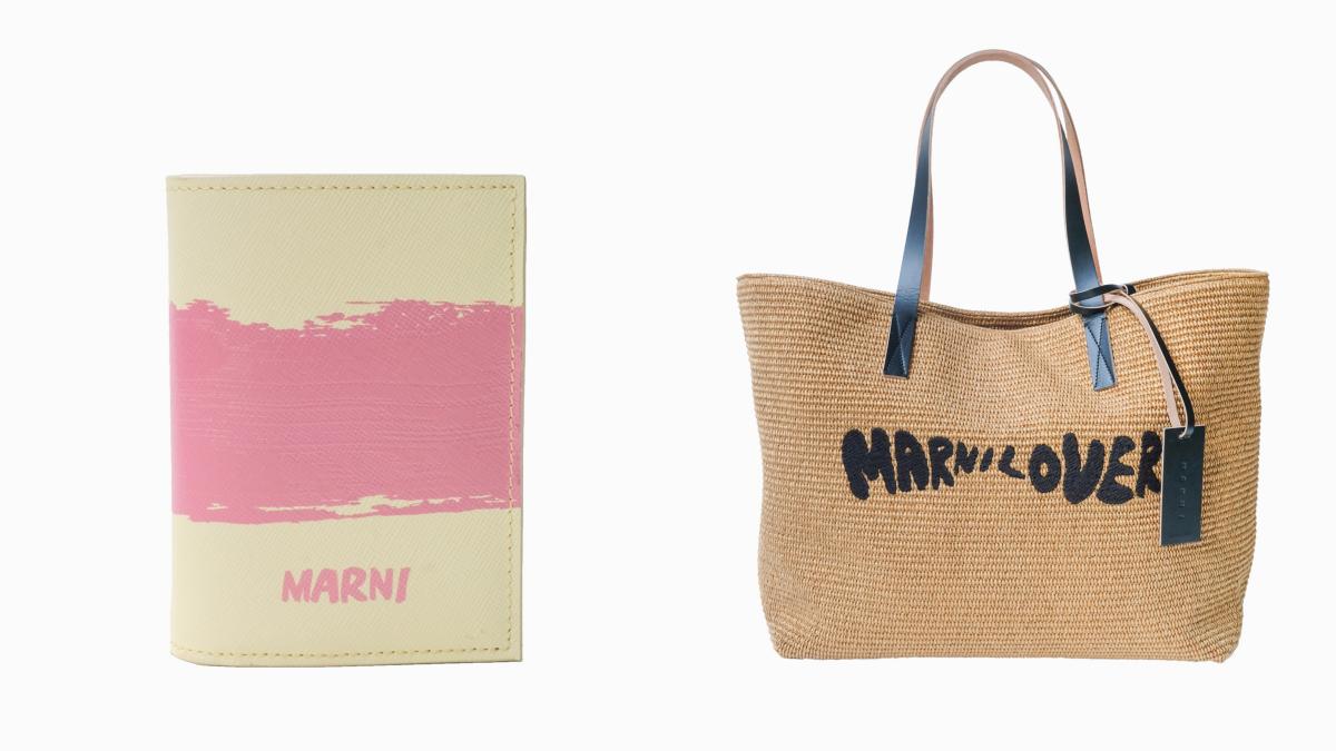 (左より)二つ折り財布(※4月15日発売)(H8.5×W11×D2cm)¥49,000、ラフィアバッグ(※4月8日発売)(H34×W39×D16cm)¥95,000/マルニ ジャパン クライアントサービス