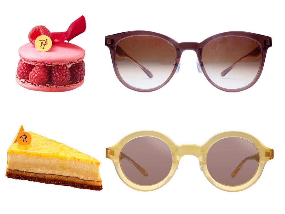 PIERRE HERMÉ collaboration-frame メガネフレーム、サングラス 各¥32,000/オンザヒル(グラッサージュ)