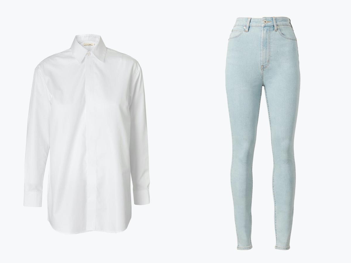 ハイライズスキニー ¥13,500、ホワイト シャツ レギュラーフィット ¥15,000/ステュディオ アール スリーサーティー