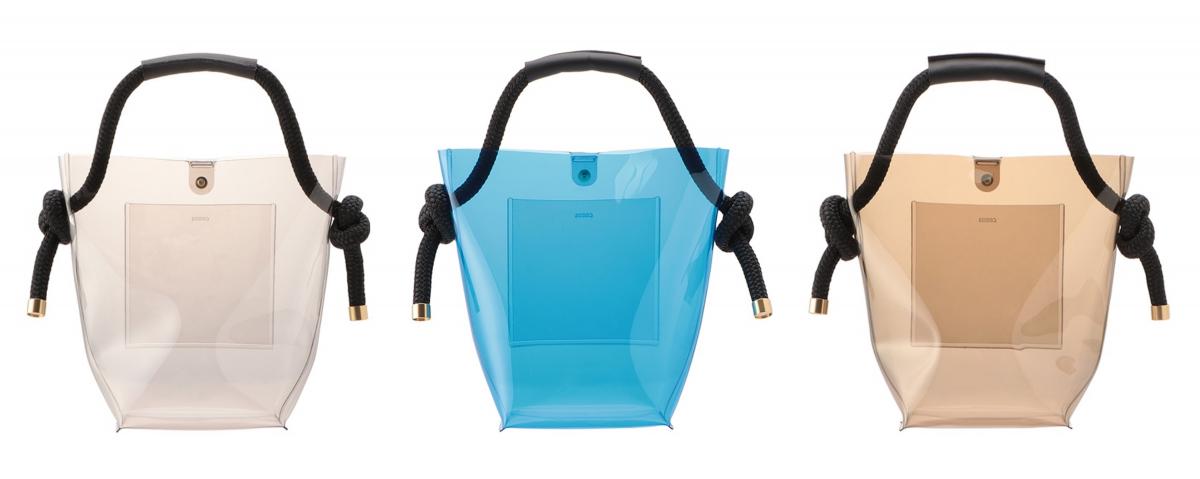 ヨットロープバッグ・クリスタル Sサイズ(W16×H23.5×D13.5cm)¥19,000、Mサイズ(W22×H37×D18cm)¥23,000 ※仕様の変更に伴い、ライトグレーのハンドル色が黒に変更/ズッカ