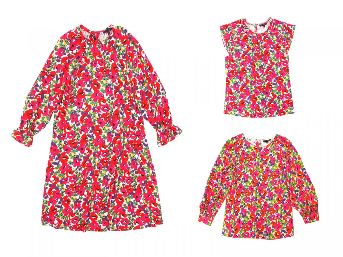 (左)Aラインのドレス ¥48,000、(右上)ノースリーブブラウス ¥21,000、(右下)パフスリーブブラウス ¥24,000/イトキンカスタマーサービス(タラ ジャーモン)
