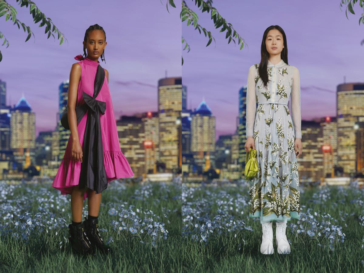 (左)ドレス ¥84,000、ハンドバッグ ¥38,000、シューズ ¥100,000・(右)ドレス ¥184,000、ベルトバッグ ¥61,000、シューズ ¥76,000/ヴァレンティノインフォメーションデスク(レッドヴァレンティノ)