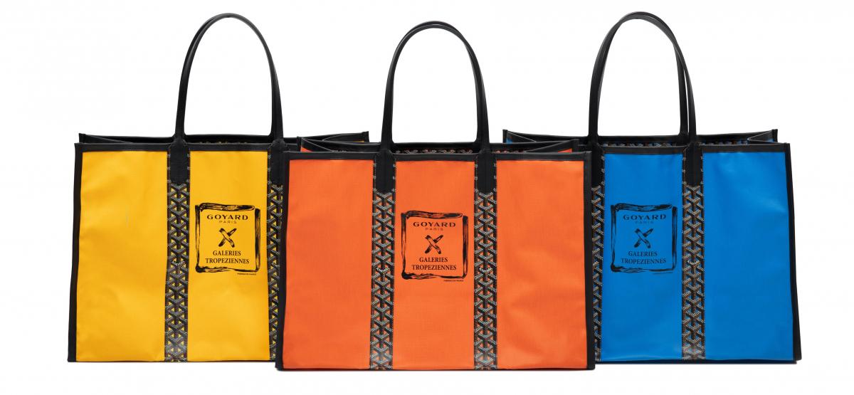 「ロズリン」(H38×W55×D23cm)各¥220,000(左からイエロー、オレンジ、スカイブルー)/ゴヤール ジャパン