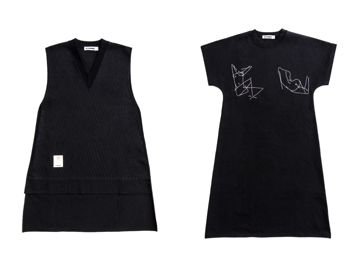 ドレス ¥248,000 ポップアップショップ限定アイテム、ジャージードレス ¥148,000 ※日本限定色/オンワードグローバルファッション(ジル・サンダー)