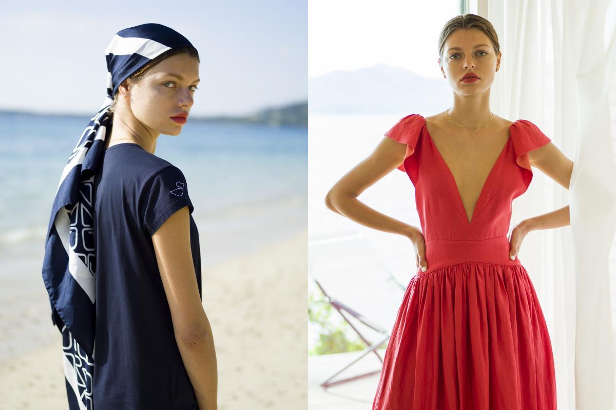 (左)スカーフ ¥74,000、ワンピース ¥26,000(ともにホテル イル ペリカーノ)・(右)ドレス ¥114,000(カリタ)/ロンハーマン ※ネックレスの価格なしで大丈夫ですか?