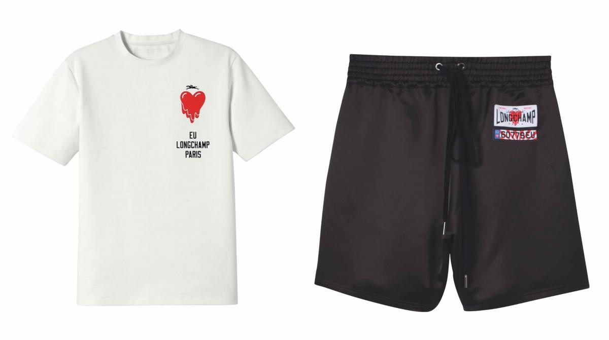 (左より)Tシャツ ¥17,600、ショートパンツ ¥33,000(ショートパンツはフラッグシップストアとポップアップのみ、その他のプレタポルテは上記店舗に加えて公 式オンラインストアでも展開予定)/ロンシャン・ジャパン