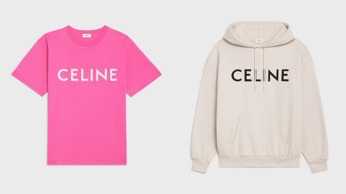 (左より)ルーズユニセックスTシャツ(ホットピンク)、ルーズユニセックスフーディ(アイボリー、ホットピンク)¥89,100(※予定価格)/セリーヌジャパン
