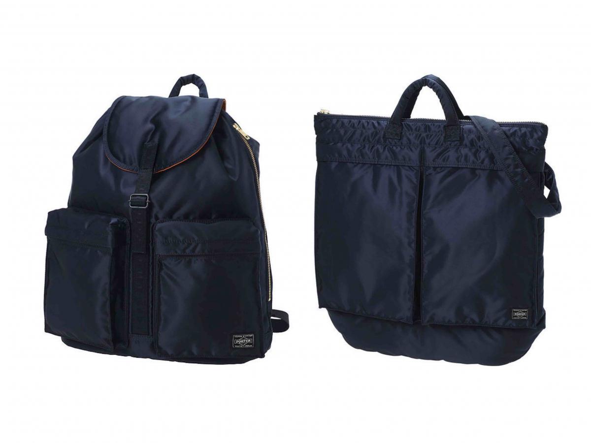 (左より)RUCKSACK ¥31,350、2WAY HELMET BAG ¥29,150/PORTER OMOTESANDO