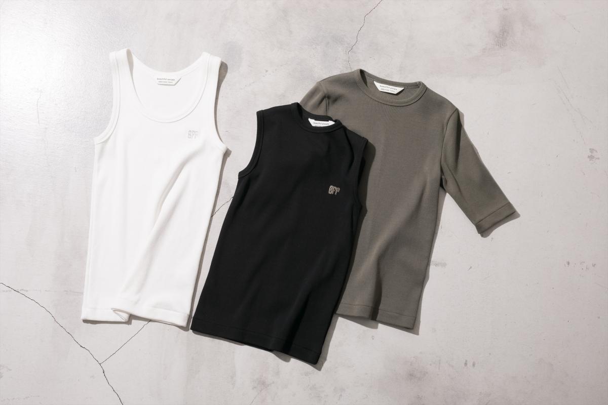 spain pima jersey half sleeve top ¥16,000/ビューティフルピープル spain pima jersey sleeveless top ¥14,000/ビューティフルピープル spain pima jersey tank top ¥13,000/ビューティフルピープル