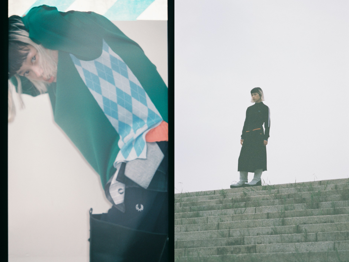 Knit Shirt ¥23,000/フレッドペリーショップ東京(フレッドペリー ×アカネ ウツノミヤ) Turtle Neck ¥18,000/フレッドペリーショップ東京(フレッドペリー ×アカネ ウツノミヤ) Sweater ¥30,000/フレッドペリーショップ東京(フレッドペリー ×アカネ ウツノミヤ)  Track Jacket ¥32,000/フレッドペリーショップ東京(フレッドペリー ×アカネ ウツノミヤ)  Track Skirt ¥24,000/フレッドペリーショップ東京(フレッドペリー ×アカネ ウツノミヤ)