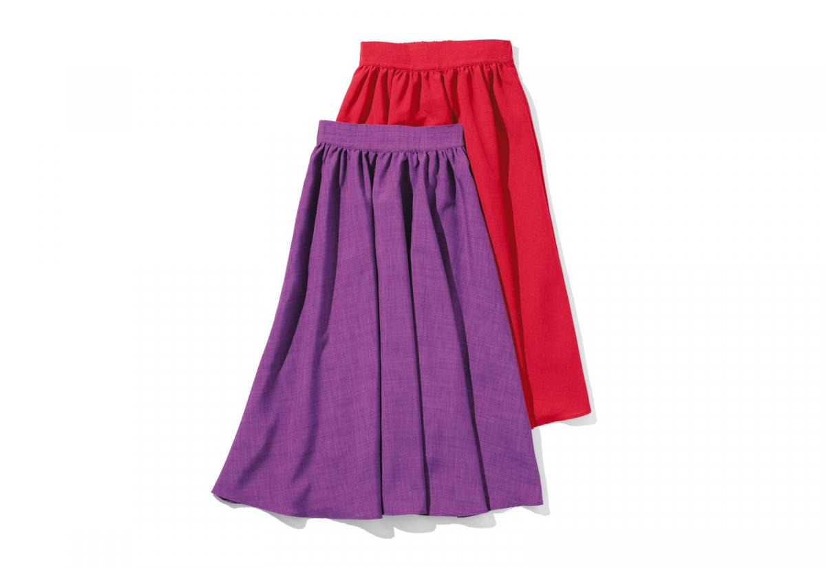 ギャザーフレアスカート ¥8,300(レッド)、¥7,800(パープル)/ディノスハートコールセンター(ルール ビス)