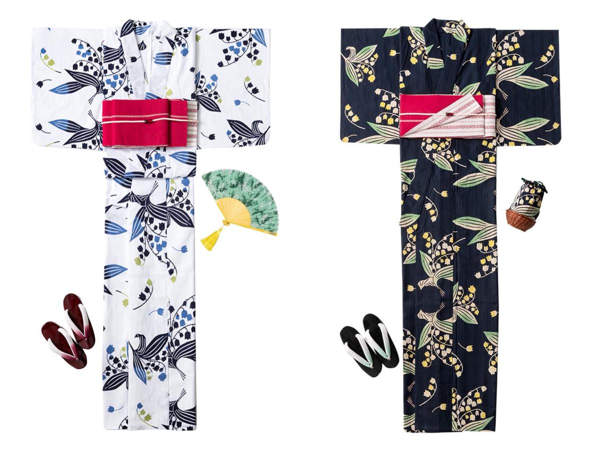 浴衣 ¥46,200、扇子 ¥7,920、巾着バッグ(サイズ?)¥7,700/ミュベール