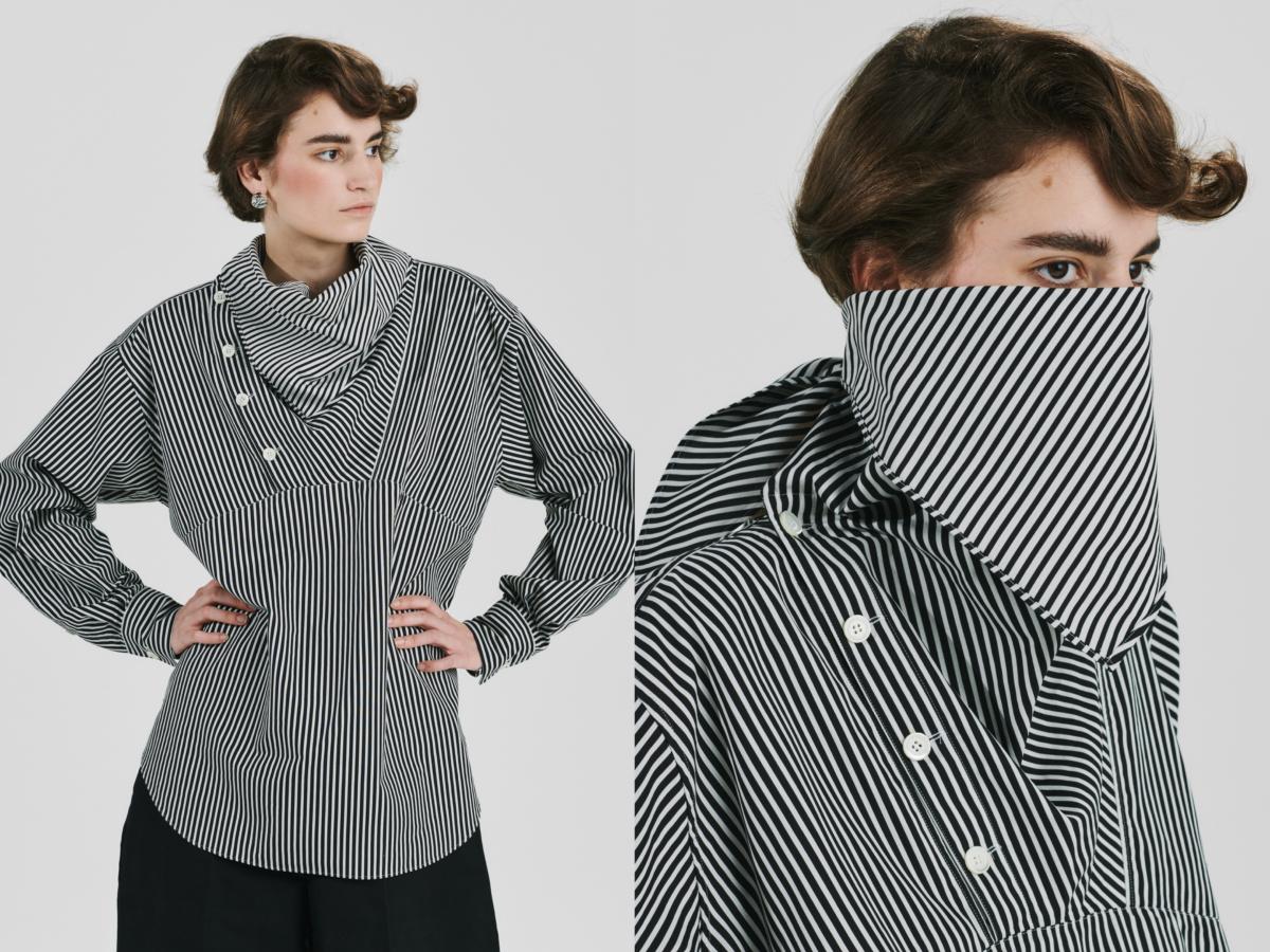 stripe river scarf collar blouse ¥49,000(2021年1月下旬発売)