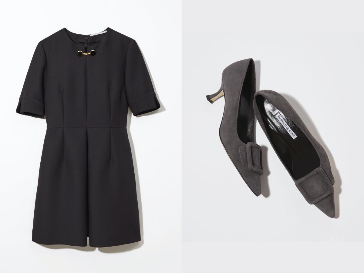 ドレス ¥129,000/バーニーズ ニューヨーク カスタマーセンター(ステラ マッカートニー)  パンプス ¥114,000/バーニーズ ニューヨーク カスタマーセンター(マノロ ブラニク)