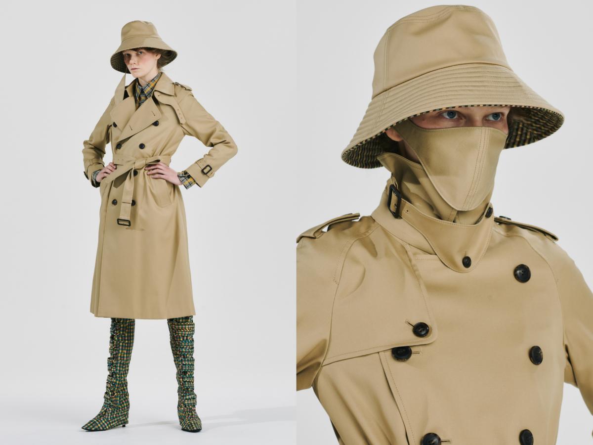 (左から)wide brim masked hat ¥25,000、maxi long trench coat ¥99,000(すべて12月下旬発売)