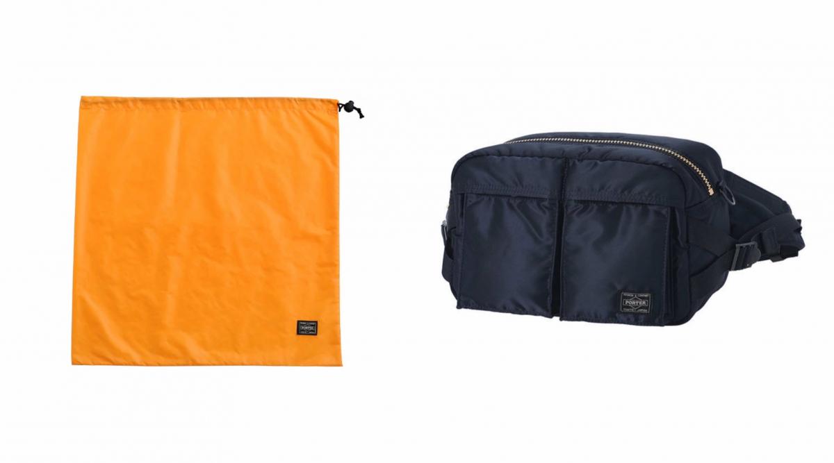 (左より)全型にポーター製のオリジナルの巾着が付属、WAIST BAG ¥20,350/PORTER OMOTESANDO