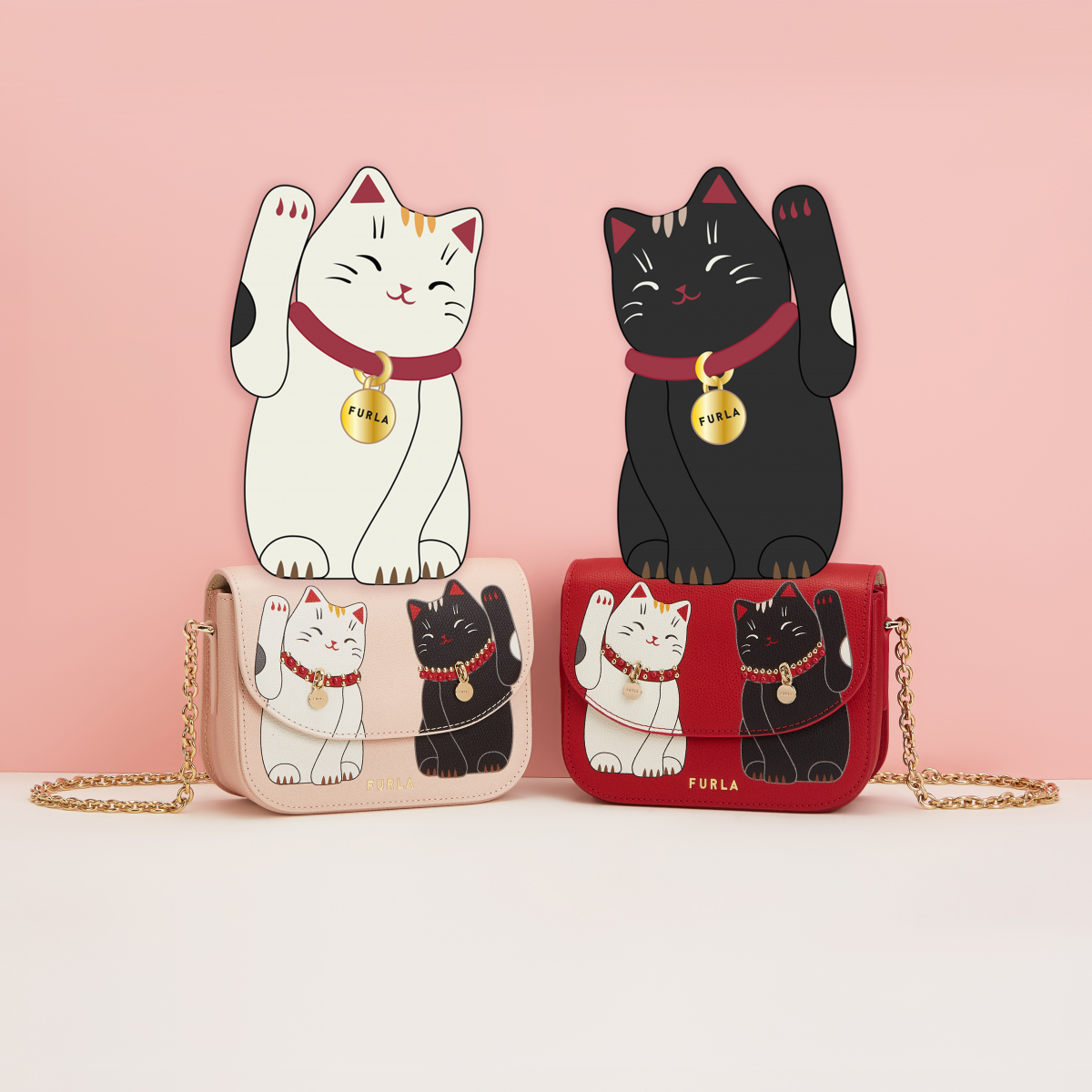 FURLA LITTLE CATS MINI CROSS BODY(H13.5×W17×D7cm)各¥49,000/フルラ ジャパン