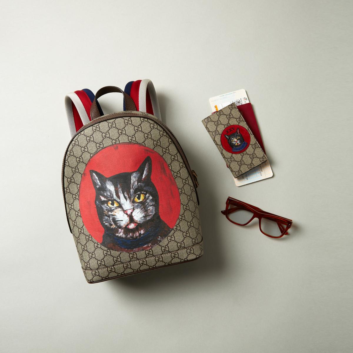 (左から)ラゲッジ「ZAINO T. GG S.S. MYST CAT/DOL.P/」 ¥142,000(H30×W22×D14cm)、携帯ケース「OBLO'CAT」(H14×W8×D1cm)¥39,000、ハバナ アズール レンズ ¥43,000(すべて税抜き)