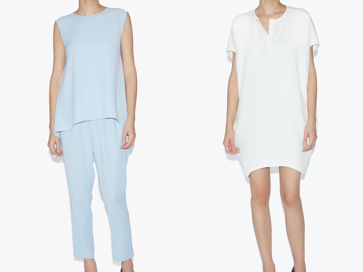 No-sleeve Blouse ¥35,200、Dolman-sleeve Dress ¥49,500/ヨーコ チャン フラッグシップストア