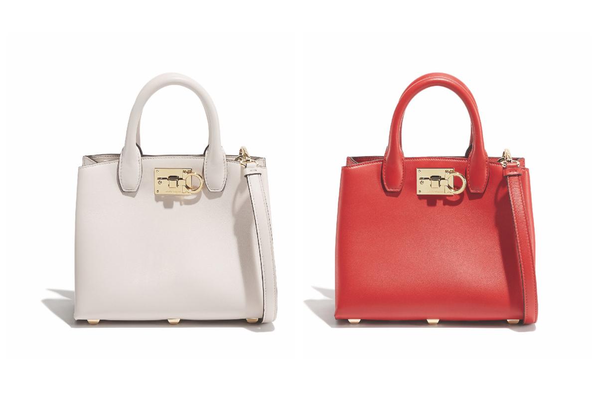 バッグ「Ferragamo Studio Bag」ミニサイズ〈H18×W21×D10cm〉各¥170,000(カラーは左からJasmine Flower、Lipstick)/フェラガモ・ジャパン(サルヴァトーレ フェラガモ)