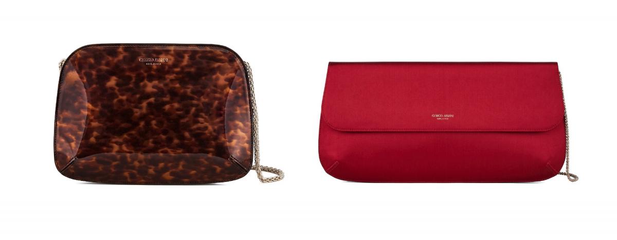 クラッチバッグ(W21×H15×D4cm)サテン素材 ¥123,000、リザード素材 ¥410,000、パテントカーフ素材 ¥140,000・(W35×H17×D4cm)サテン素材 ¥143,000/ジョルジオ アルマーニ ジャパン