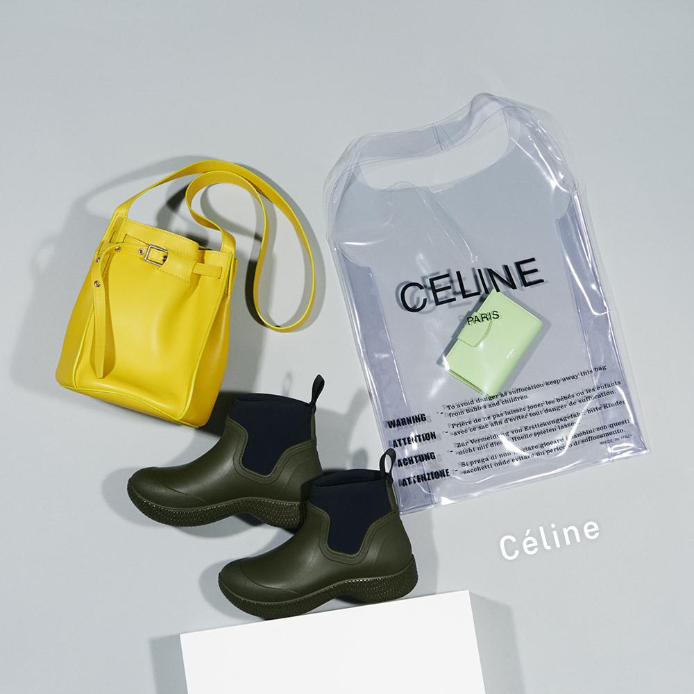 (右から)PVCケース付きパース(パース:H13.5×W9cm)¥110,000、ブーツ(ヒール5cm)¥64,000、バッグ(H21×W25×D21cm)¥255,000