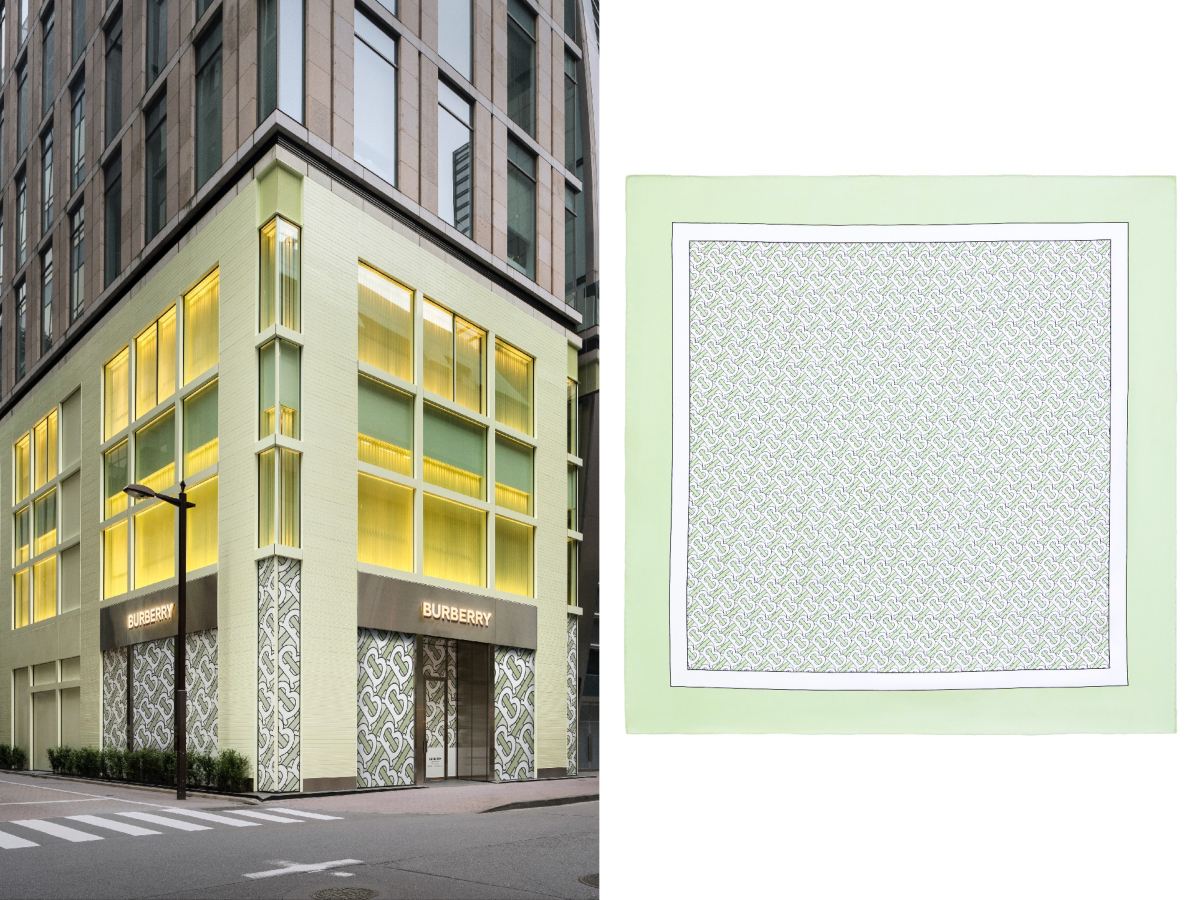 バーバリー銀座店とシルクスカーフ ¥50,000 ※銀座店限定アイテム/バーバリー・ジャパン