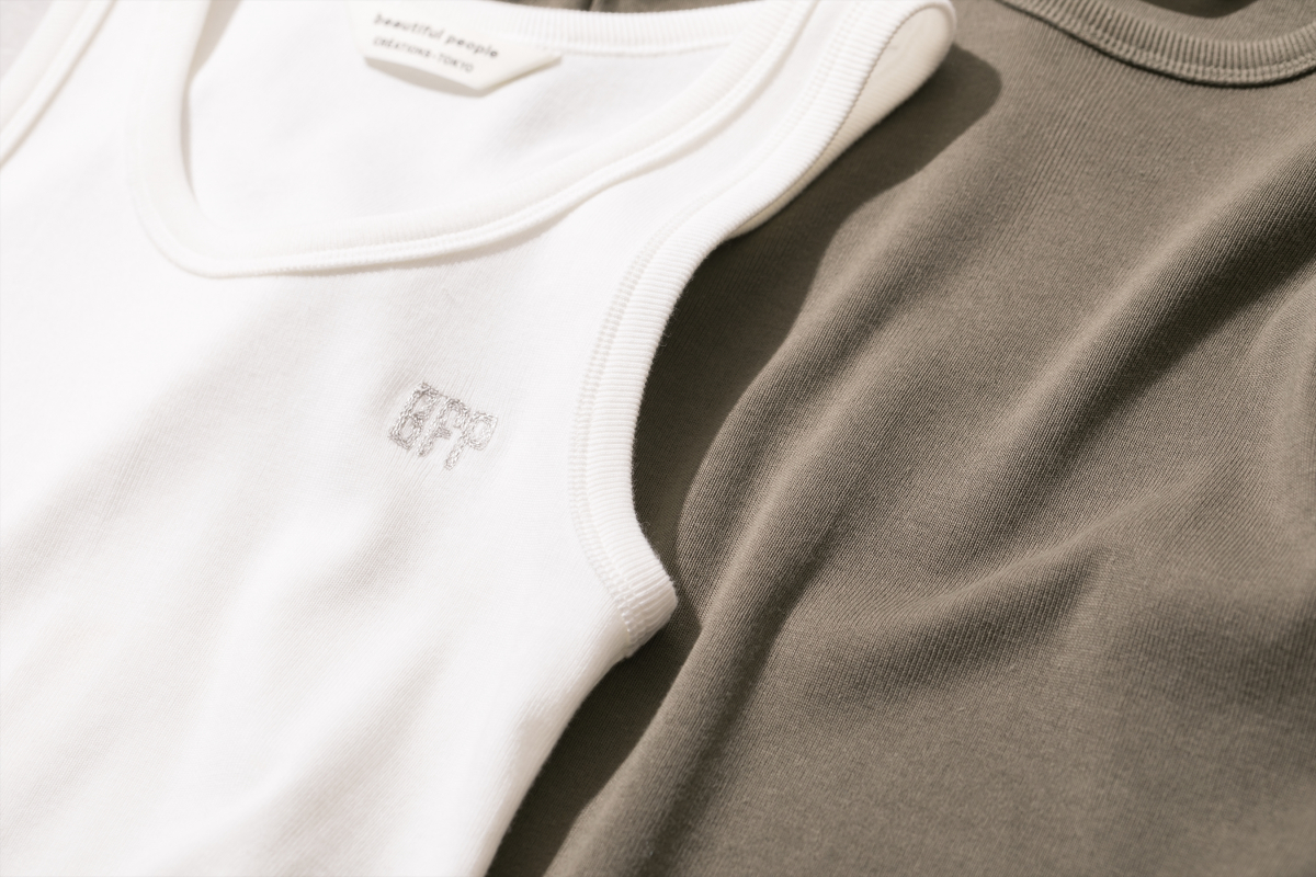 spain pima jersey half sleeve top ¥16,000、 spain pima jersey sleeveless top ¥14,000、spain pima jersey tank top ¥13,000/ビューティフルピープル