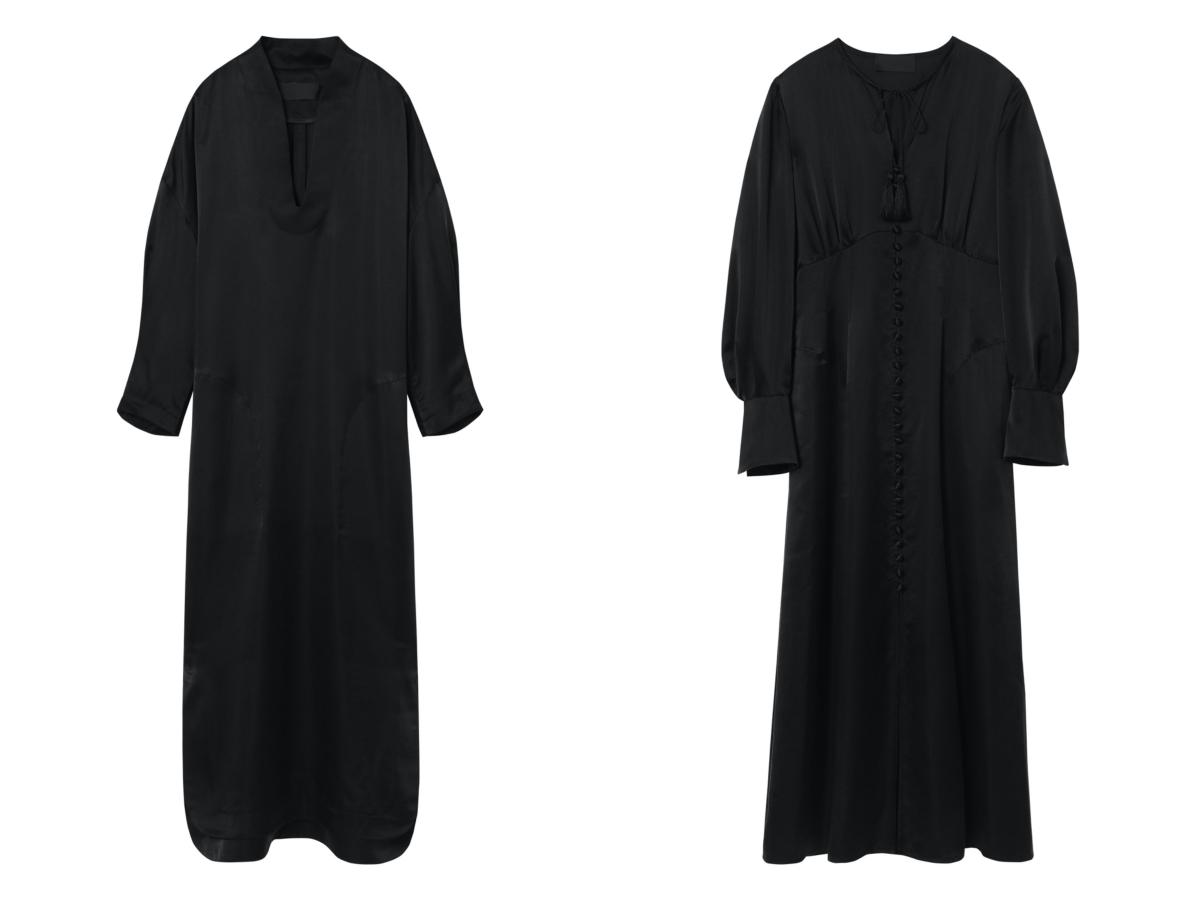 (左より)ベーシック シルク ディープ ネック ドレス ¥90,200ベーシック シルク マルチボタン ドレス ¥121,000/マメ クロゴウチ オンラインストア