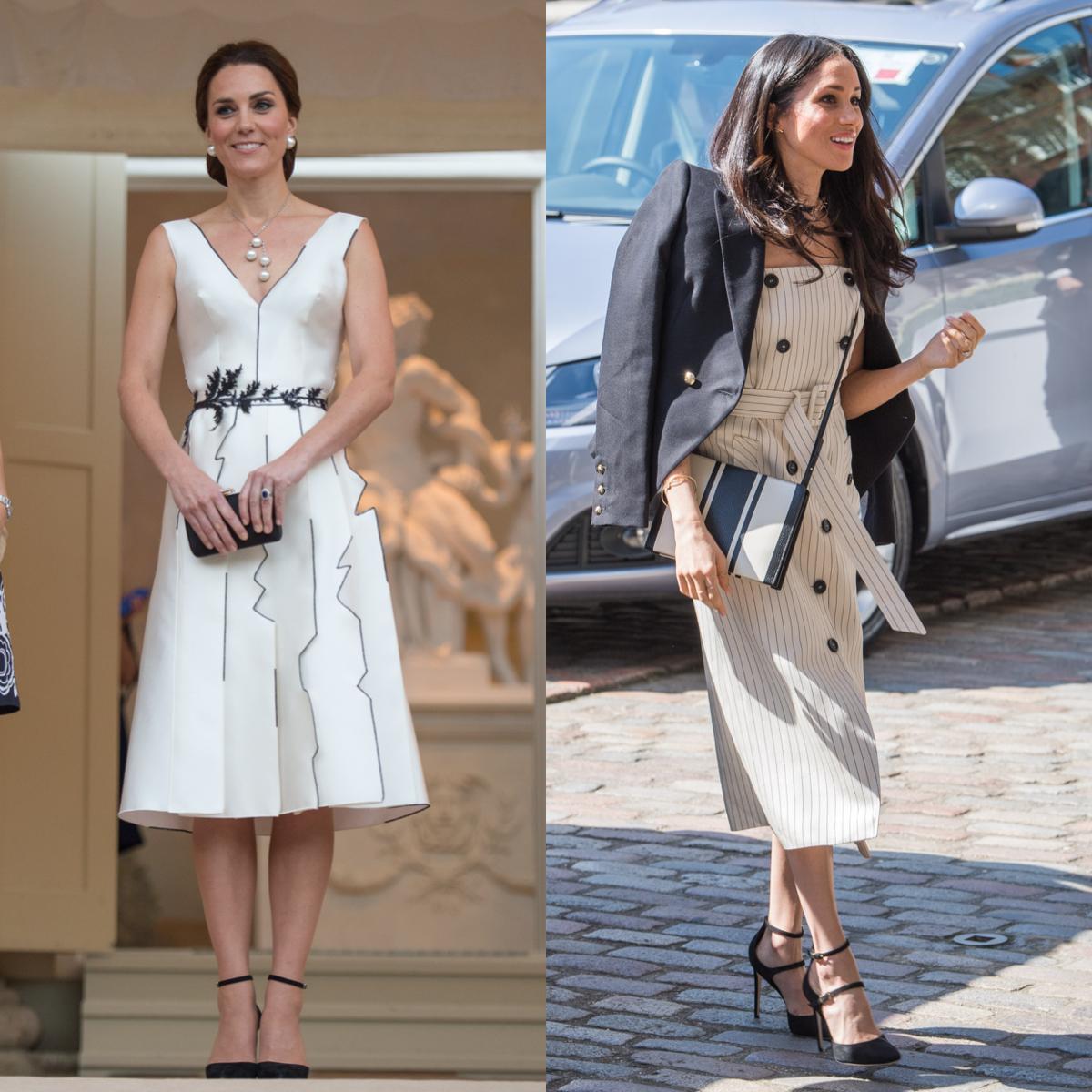 キャサリン妃が選んだのは、Aラインのドレス。ブラックのステッチでさりげないアクセントを。メーガンは、ピンストライプのドレスでマニッシュに仕上げ、ジャケットを