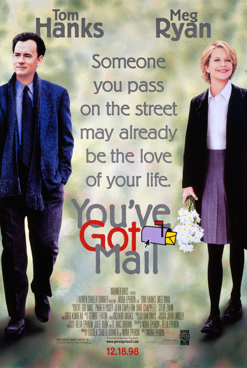 『ユー・ガット・メール』(1998)小さな絵本屋の店主キャスリーン(メグ・ライアン)と、大手書店チェーンを経営するジョー(トム・ハンクス)が繰り広げる恋愛ストーリー。一通の間違いメールをきっかけにメール友達へと発展し、いつしか恋が芽生えていく。