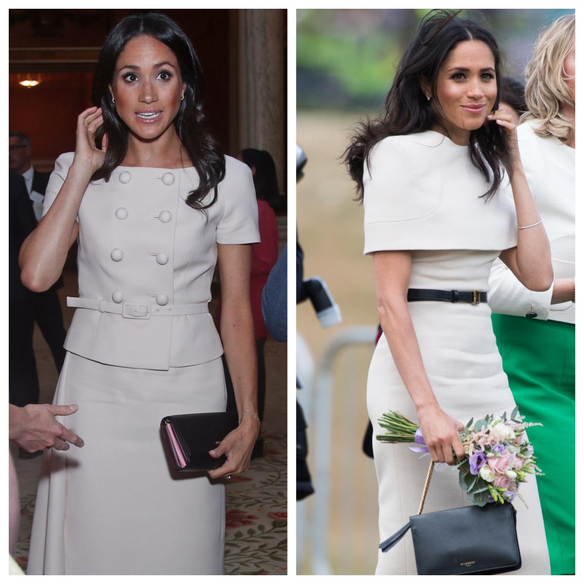 (左)今回の公務でのメーガン妃。(右)6月14日(現地時間)にエリザベス女王との初公務に参加したときのメーガン妃。Photo:Getty Images