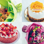 バースデーケーキと花束のカラーコーディネート帖