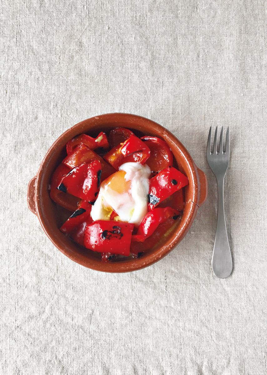 ローストパプリカと温泉卵
