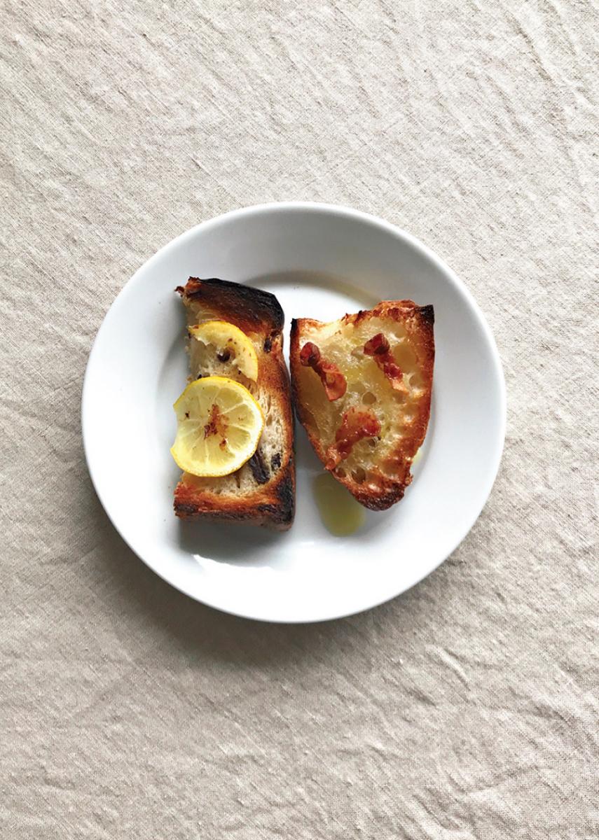 トースト レモンとパンチェッタ
