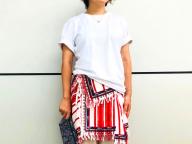 エスニックムードのフラップスカート