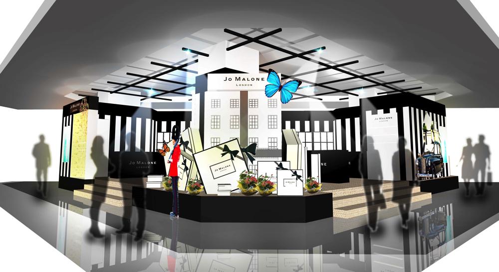 ロンドン本社タウンハウスを再現したオブジェや、タウンハウスの世界に誘うムービーが流れるイベント会場